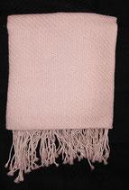 Châle 100% Pashmina : beige/rosé avec frange