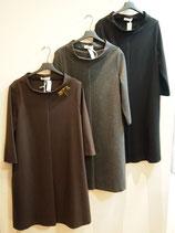 ロールカラー七分袖ワンピース3色(730−274)