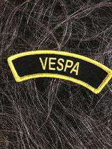 Vespa Aufnäher gebogen Vespa gelb schwarz