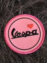 Vespa Aufnäher rund Vespa Schriftzug pink
