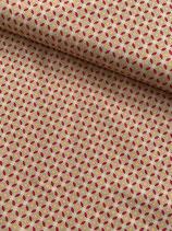 Baumwoll-Stretch Satin, geometrisch, beige-fuchsia Öko-Tex