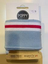 Bündchen Poppy hellblau rot weiss Oeko-Tex