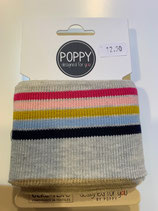 Bündchen Poppy hellgrau-farbig gestreift