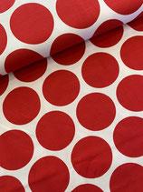Baumwolle-Jersey Punkte gross, rot- weiss