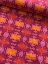 Baumwoll BIO-Jersey Design, Lotus-Beere orange-rot, Stoffonkel