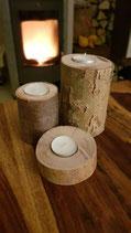 3er Set Kerzenhalter Stumpen aus Holz