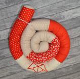 Bettschlange Faltboot (Beige/Rot)