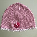 """Mütze """"Schmetterling"""", rosa mit weißem Rand"""