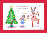 """Weihnachtskarte A5 mit Kuvert """"Engel Elchtanz"""""""