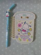 Pochacco, Notizbuch mit Kugelschreiber, Spiralblock, Notizheft, Sanrio, shake
