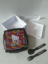 Brotdose, Lunchbox, Vorratsbehälter mit Besteck, Snack Box, Bentobox, Hello Kitty, color bow