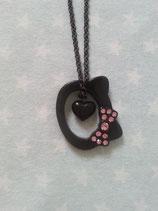 Halskette mit Anhänger, Modeschmuck, Damen Halsketten, Hello Kitty, black silhouette