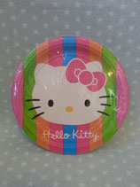 Pappteller, Partyteller, Einweg Teller, Hello Kitty, S rainbow