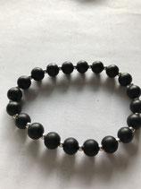 Bracelet bibi, perles agate noire et argent