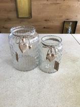 Windlicht aus Glas klar mit Holzherz