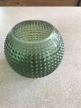 Windlicht aus Glas kugelförmig in petrolgrün mit Noppenoptik