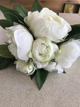 Pfingstrosenstrauß Blüten in weiß Stiel Länge 28cm Durchmesser 25cm
