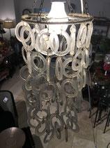 Lampeschirm hängend mit Fiberglasringe klar für große Birnenfassung