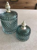Glasdose mit Deckel Goldgriff, geriffeltes Glas petrol von Lene Bjerre