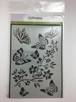 Schablone Schmetterlinge Blumenranke Ce