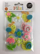 Filzi Filz Sticker (Biene, Schnecke,Blume)