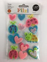 Filzi Filz Sticker (Käfer, Herz)