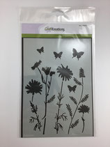 Schablone Blumenwiese Scmetterlinge