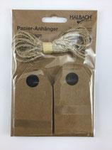 Papier Etiketten braun mit Schnur, Halbach