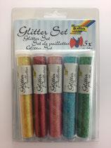 Glitzer Set (gelb,rot,pink,türkis,grün)