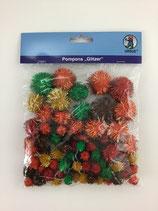 Pompons Rot glitzer mix, diverse Grössen 60 Stk