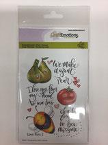 Silikonstempel Love Puns 2 (Birne,Äpfel,Biene)