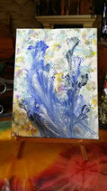 Bouquet bleu - peinture abstraite