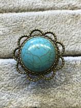 """Ring Blume """"Türkis"""", antik, ca. 18mm"""