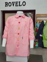 00060022 Babi colegio cuadro rosa  CON OJALES Y BOTONES DE COLORES.