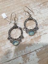 Boucles d'oreilles Calcedoine bleu argent travaillé