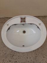 Lavabo à encastrer ou à poser Faience de Desvres Décor Rouen Longueur 57cm Largeur 45,5 cm Profondeur 21cm