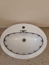 Lavabon à  encastrer ou à  poser Faience de Desvres Décor Rouen Longueur 53cm Largeur 41cm Profondeur 18cm