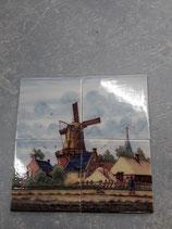 Fresque Moulin   Faience de Delft 26cm ×26cm signé  Makkum