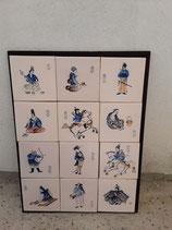 Fresque Samourai Faience de Delft Hauteur 98 cm Longueur 85 cm