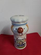 Pot Clown Semoule Faience de Desvres Décor Chaumière Hauteur 21 cm Diamètre 8 cm