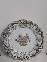 Assiette à accrocher Faience de Desvres Décor Rouen Diamètre 24 cm