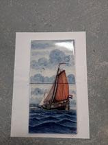 Fresque Voilier Faience de Delft Hauteur 26 cm Largeur 13 cm