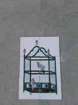 Fresque Faience de Desvres Cage Oiseau Hauteur 44cm Largeur 29,5 cm