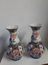 Magnifique Paire de Vases Faience Delft Makkum Hauteur 26 cm diamètre 9 cm