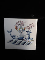 Carreau  Sirène réf 16     dimensions 13cm ×13cm Faience de Delft stock 4