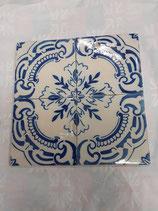 4 Carreaux Anciens Faience Azulejoz Portugal 14 cm ×14cm réf AB16