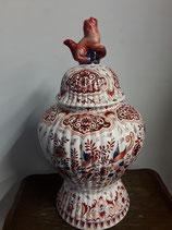 Magnifique Potiche Faience Delft Doré (avec certificat ) Hauteur 41 cm Diamètre 11 cm