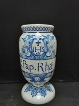Ancien Pot à Pharmacie C.Pap.RHA. Faience de Desvres Blanc rosé Décor Vieux Lille Hauteur 28 cm Diamètre 14 cm