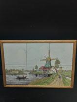 Fresque Faience de Delft  Longueur 42cm Hauteur 29,5cm Décor Moulin
