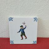 Ancien Carreau Carrelage Faience de Delft 10cm Décor Enfant Jeux